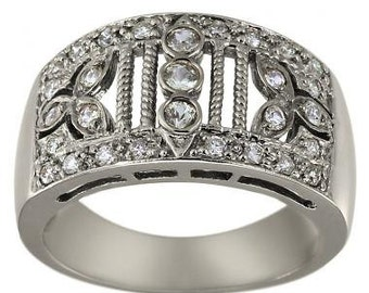 Art Deco Ring Diamond Bands Filigree Ring Vintage Ring Band In 14K White Gold