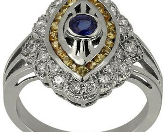 Art Deco Ring Blue Sapphire Ring With 1.05ct Diamonds & Yellow Sapphire 14K Gold