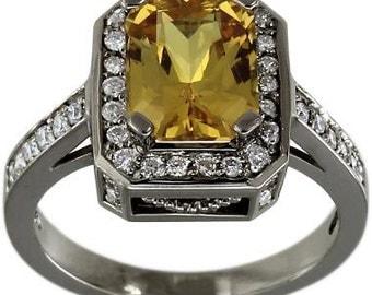 Yellow Sapphire Radiant In Sapphire Diamond Engagement Ring