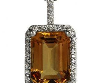Citrine Necklace In 14k White Gold With A Diamond Halo Pendant Design