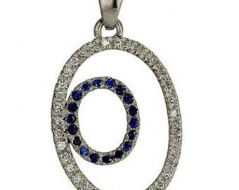 Diamond Pendant & Blue Sapphires Oval Shape Diamond Sapphire Necklace 14k Gold