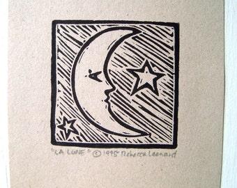 LA LUNE Print - 2x2.  Black. Linoleum Prints Block Cuts Hand Printed Hand Carved Linocut Moon Print Block Prints Handmade Gifts