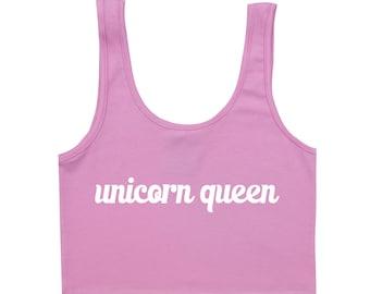 unicorn queen BRA TOP crop t shirt womens girls fun tumblr hipster swag grunge goth punk 90s retro indie summer cute pastel harajuku kawai
