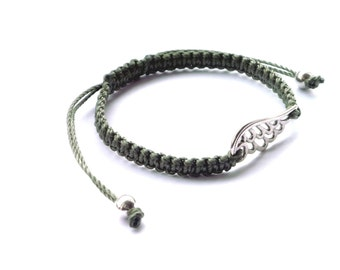 Angel wing macrame friendship bracelet silver tone beads