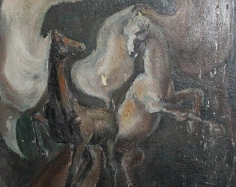 Vintage expressionist horses oil painting
