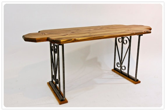 Reclaimed wood coffee table with brushed wrought by for Wood coffee table with wrought iron legs