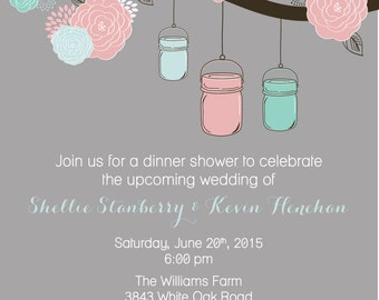 Mason Jar & Tree Wedding Shower Invitation