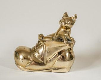 Puss in Boots Brass Figurine Retro Vintage