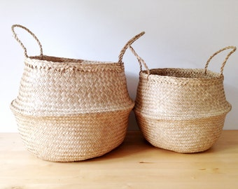 Natural Belly Basket Seagrass Panier Poule Large Medium Nursery Storage Market Bag Picnic Bag Planter Toy storage Home Sweet Home Organizer
