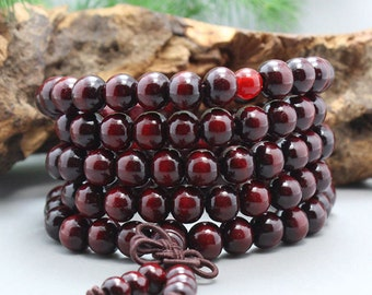 6mm/8mm/10mm Natural Red Sandalwood Beads 108 Beads Loose Mala Prayer Beads Japa Mala Buddha Necklace