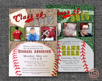 Baseball Themed Graduation Announcement - Digital Printable DIY - Made to Order and Customizable