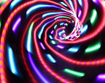 """LED Hoop- """"Red Hot Rainbow""""- sizes 26""""-40""""OD - HDPE 3/4 Collapsible"""