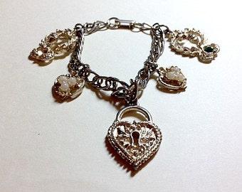 Vintage charm bracelet hearts and crosses heart charm bracelet cross charm bracelet 1950s 1960s