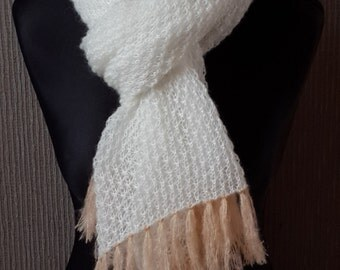 Kid Mohair scarf with fringe - hand made; Free Shipping Worldwide