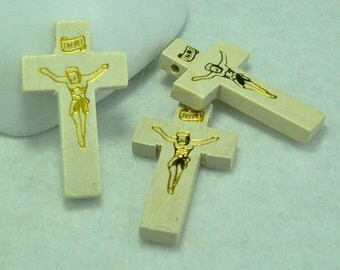 Wood Cross 42x25mm,20pcs Small  Wood Cross Bead,Wood Cross Pendant,Wood Cross Necklace