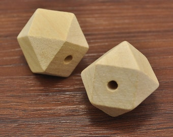 100pcs Natural Polyhedron Faceted Cube Wooden Beads 25mm,Geometric Wood Beads,DIY, Jewelry Supply, Wood Crafts