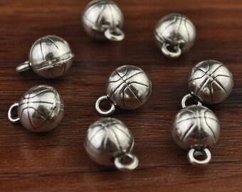 Basketball,Sport Charm,Basketball Charm,Basketball Pendant,Antique Silver Tone 10mm-A