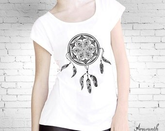 Dream Catcher Mandala on Draw Cord Detail T-shirt Top in White
