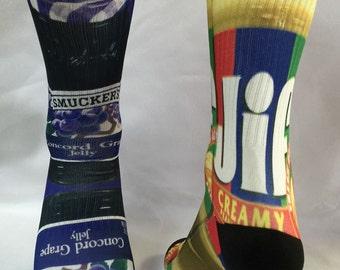 Custom Peanut and Grape Jelly Socks