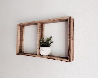 Rustic Wood Shelf - Wood Kitchen Shelf - Reclaimed Wood - Square Shelf - Double Shelf - Wood Box Shelf - Redwood Shelf
