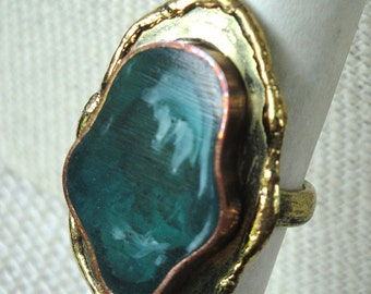 Freeform Adjustable Ring Teal