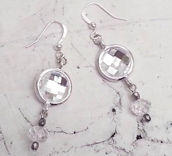 Clear Crystal Drop Earrings Boho bride