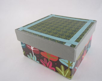 SALE! Price Reduced! Square Paper Mache Box, Cute Desk Storage, Office Accessories