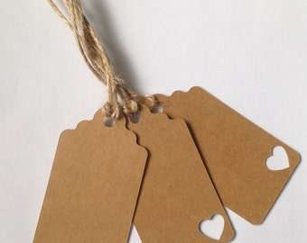 25 Kraft Card Tags with heart detail, Wedding Tag, Place Card, Gift Tag, Favour Tag.