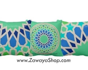 three Decorative pillows teal turquoise mint home decor Morrocon motifs colors can be customized upon request