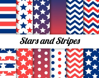 4th of July Digital Paper - Red White and Blue - Patriotic - Stars and Stripes - Independence Day
