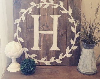 Painted Monogram with Wreath - Letter Sign - initial, rustic, wedding, decor