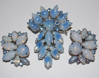 Vintage Opalescent Light Blue and Light Blue Rhinestone Brooch and Earring Set - Demi Parure