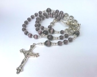 First Communion Rosary Personalized Dark Purple Cat's Eye