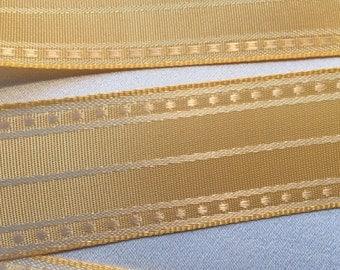 """Yellow and White Ribbon, Dotted Stripe Ribbon, Vintage Ribbon, Polka Dot Ribbon, Rayon Ribbon 1"""" Wide"""