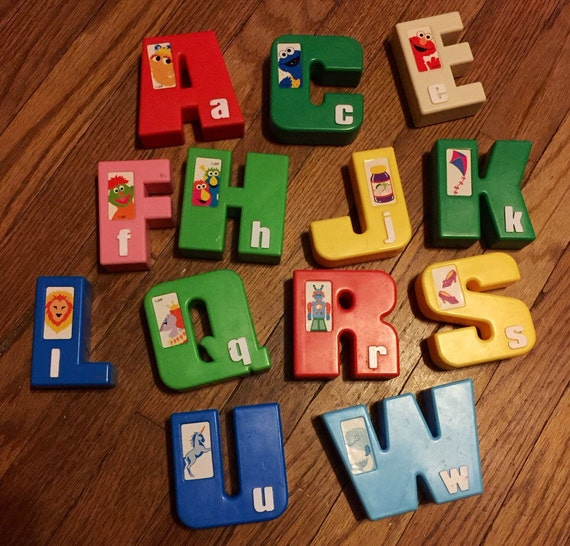 Vintage sesame street large plastic alphabet by gatheredspills for Large plastic alphabet letters