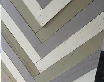 Rustic Farmhouse Decor. Chevron Wooden Wall Hanging