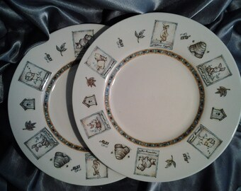 Disney Winnie The Pooh Ceramic Set of Two Plates.  Shipping and Tracking included  Price.