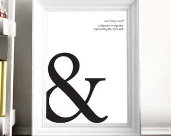 Printable Art 'Ampersand' Poster Typography Print Ampersand Sign Office Wall Art Typeface Art Instant Digital Download