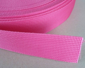 5 Yards, 1.25 inch (3.2 cm./32 mm.), Polypropylene Webbing, Hot Pink, Key Fobs, Bag Straps, Purses Straps, Belts, Tote Bag Handle.