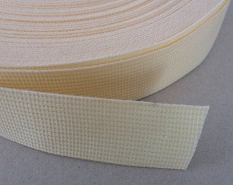 5 Yards, 1.25 inch (3.2 cm.), Polypropylene Webbing, Cream, Key Fobs, Bag Straps, Purses Straps, Belts, Tote Bag Handle.