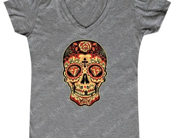 Sugar Skull Gold Diamond - Ladies' V-neck