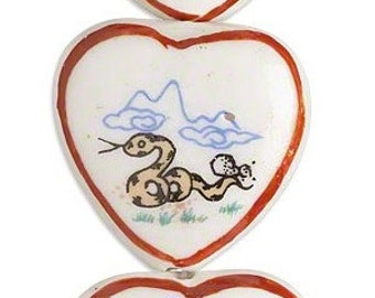 Heart bead, year of the snake, painted porcelain bead, 30x28, 2 each, D462