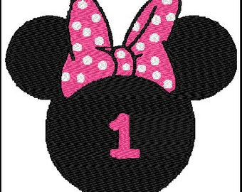 Minnie Mouse First Birthday Embroidery Design