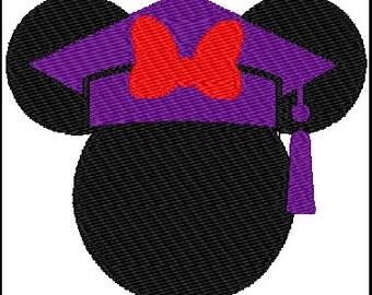 Minnie Mouse Graduation Embroidery Design