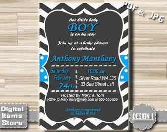 Baby Shower Boy Invitation - Baby Shower Invitation - Baby Shower Boy Invites - Baby Shower Invites Chevron - Printable Baby Shower