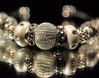White on silver bangle bracelet
