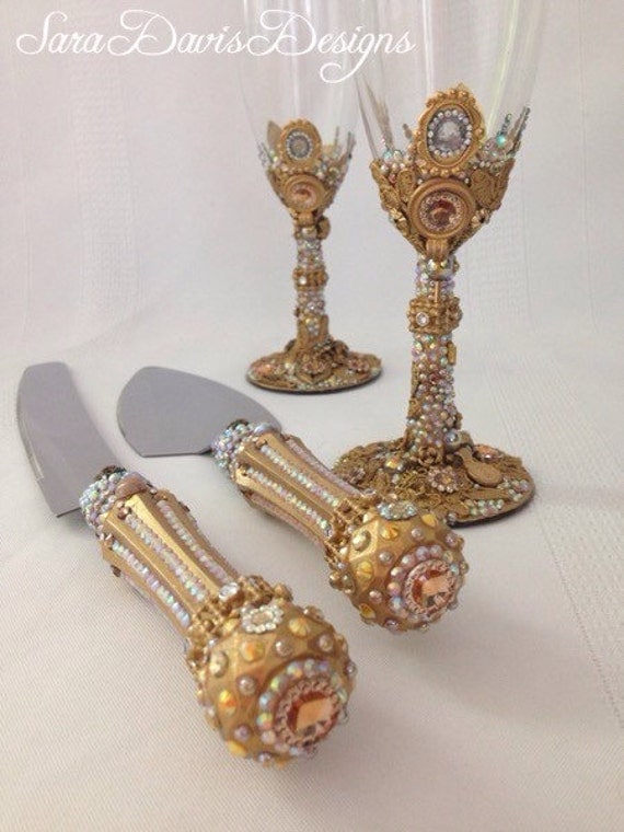 wedding cake cutters and flutes gold cake server and toasting flute set gold toasting flutes 22313