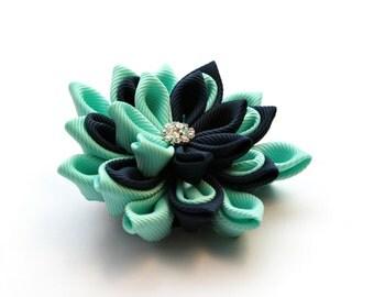 Kanzashi flower brooch, dark blue, navy and mint kanzashi brooch, fabric brooch,  ladies brooch