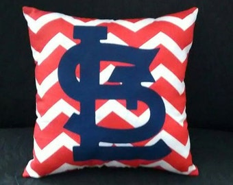 Red and White Chevron STL Pillow