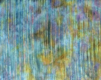 Gold & teal batik fabric by the yard, fat quarter, stripe teal fabric, hand dyed fabric, batik cotton fabric,quilt fabric yardage